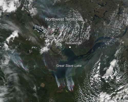 Fires above the Great Slave Lake in Canada