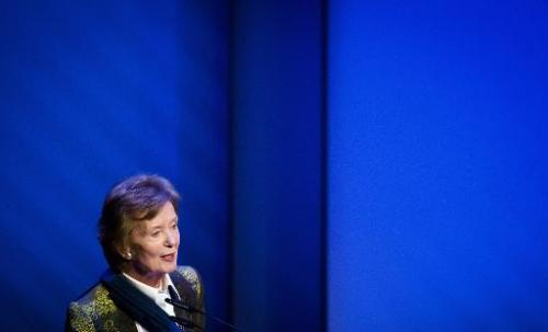 Former president of Ireland and former United Nations High Commissioner for Human Rights Mary Robinson speaks during the yearly