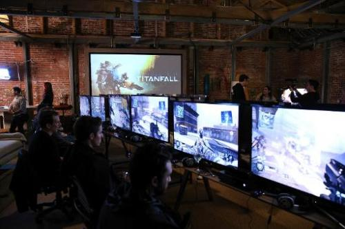 Gamers get a sneak peek at the new game 'Titanfall' on Xbox One at the Microsoft Lounge on February 24, 2014 in Venice, Californ