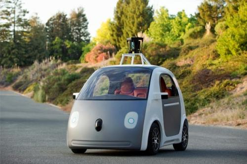 Google car, no steering wheel