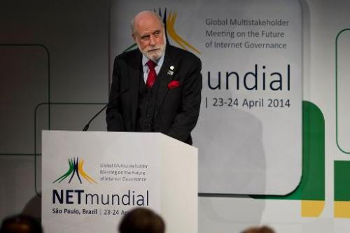 "Google vice-president Vint Cerf delivers a speech during the opening ceremony of the ""NETmundial – Global Multistakeholder"