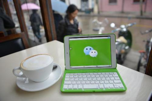 Hundreds of millions of Chinese use messaging apps like WeChat, pictured, and microblogging site Sina Weibo