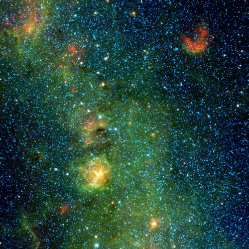 Image: A storm of stars in the Trifid nebula