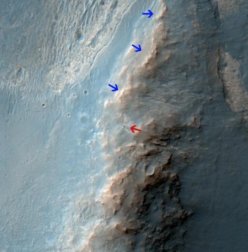 Image: NASA Mars orbiter views Opportunity rover on ridge