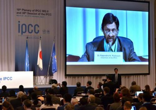 Intergovernmental Panel on Climate Change (IPCC) chairman Rajendra Pachauri speaks at the 10th plenary of the IPCC Working Group