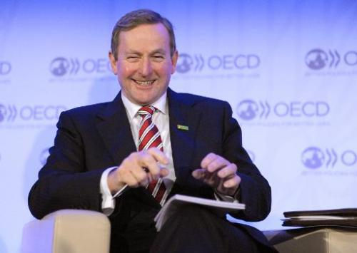 Irish Prime Minister Enda Kenny attends a special conversation event at the OECD headquarters  in Paris on February 7, 2014
