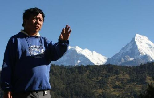 Mahabir Pun in the village of Nagi, 200 km west of Kathmandu, on October 25, 2010