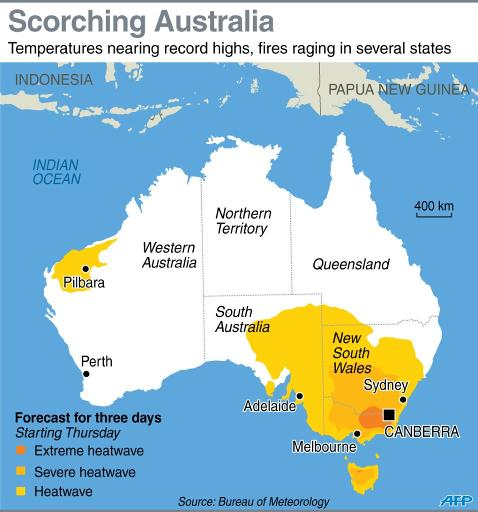 Map showing heatwave forecast for Australia