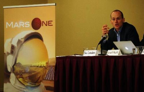 Mars One CEO Bas Lansdorp holds a press conference to announce the launch of astronaut selection for a Mars space mission projec