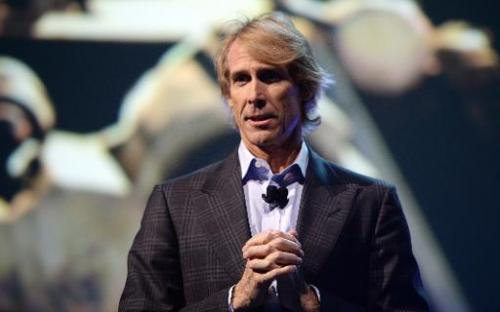 Movie director Michael Bay speaks at the Samsung press event at the Mandalay Bay Convention Center for the 2014 International CE