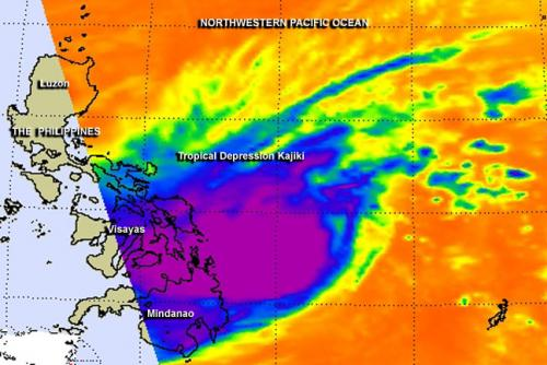 NASA catches Tropical Depression Kajiki over central Philippines
