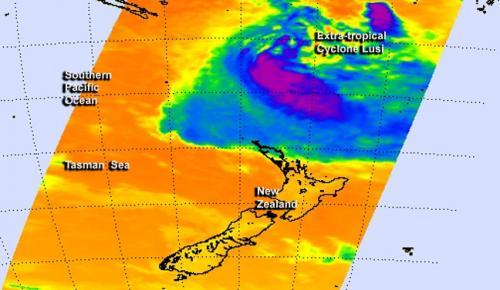 NASA sees an extra-tropical Lusi north of New Zealand