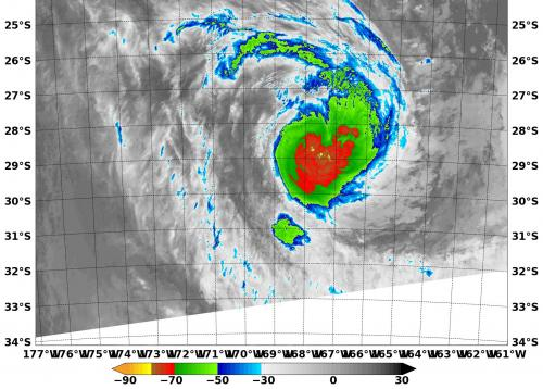 NASA sees strong thunderstorms around Tropical Cyclone Kofi
