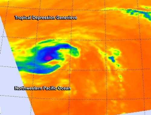 NASA sees the end of Tropical Depression Genevieve