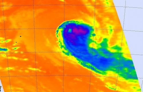 NASA's infrared satellite imagery shows wind shear affecting Cyclone Ian