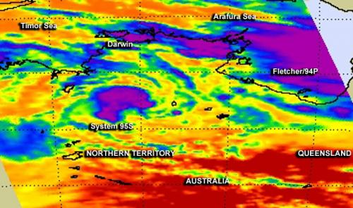 One NASA image, 2 Australian tropical lows: Fletcher and 95S