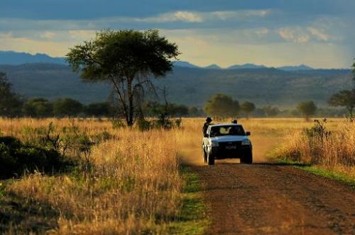 Park wardens drive through the Mikumi National Park, which borders the Selous Game Reserve, in Tanzania on October 13, 2013
