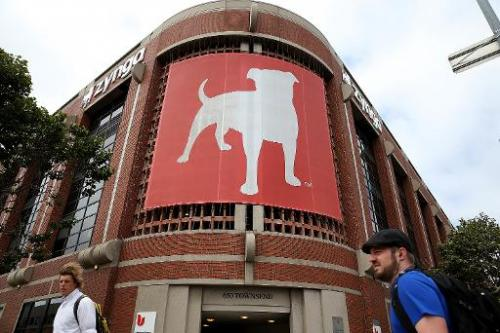 Pedestrians walk by the Zynga headquarters on June 4, 2013 in San Francisco, California