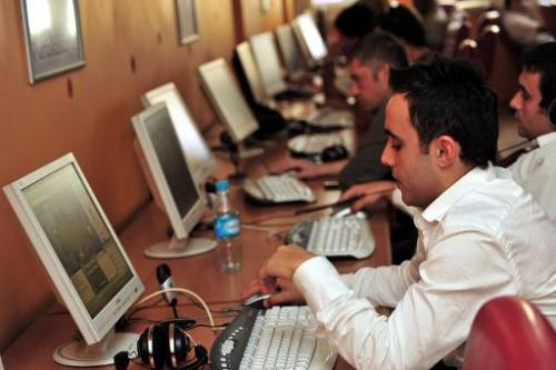 People in an internet cafe in Istanbul on September 3, 2009