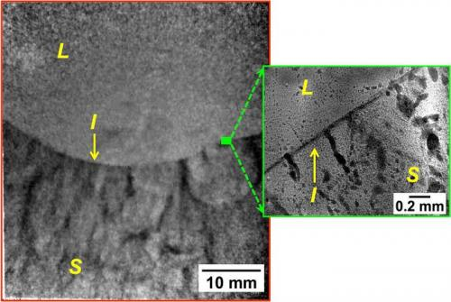 Probing metal solidification nondestructively