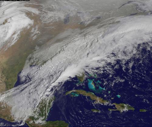 Satellite movie shows a Mid-Atlantic St. Patrick's Day snow