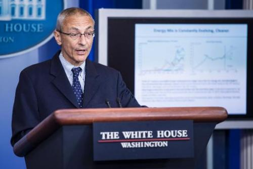 Senior White House counselor John Podesta speaks during the daily briefing at the White House on May 5, 2014 in Washington