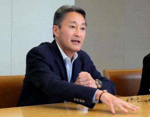 Sony president Kazuo Hirai speaks to reporters at a round table meeting at the company's headquarters in Tokyo on May 26, 2014