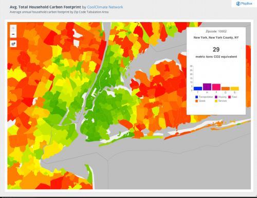 Suburban sprawl cancels carbon footprint savings of dense urban cores
