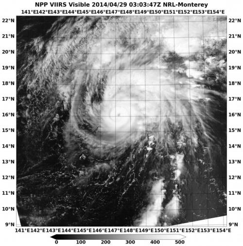 Suomi NPP satellite sees clouds filling Tropical Storm Tapah's eye