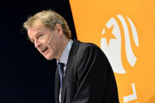 Swedish energy company Vattenfall's CEO Oystein Loseth presnts the company's sales report during a press conference at their hea