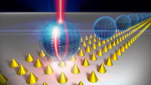 Symphony of nanoplasmonic and optical resonators produces laser-like light emission
