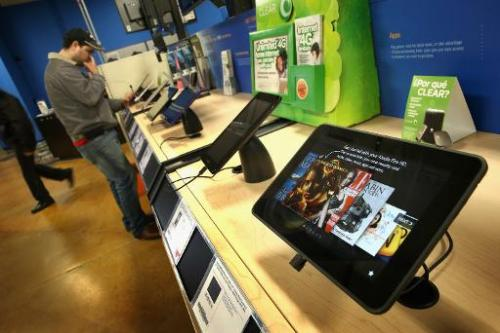Tablet computers are offered for sale at a Tiger Direct store on April 11, 2013 in Chicago, Illinois