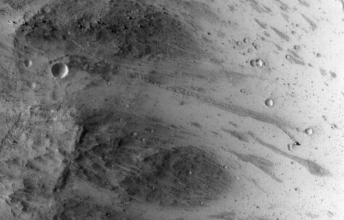 Tall Boulder Rolls Down Martian Hill, Lands Upright
