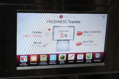 The display embedded in the front of a LG smart refrigerator on the final day of the 2014 International CES, January 10, 2014 in