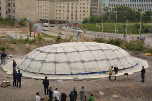 The inflatable concrete dome