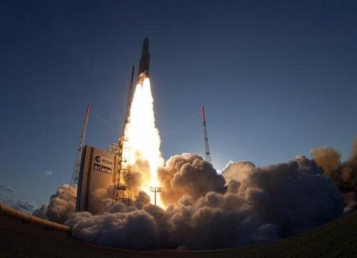 The launch of an Ariane-5 rocket from Kourou space base in the French overseas department of Guiana on August 30, 2013