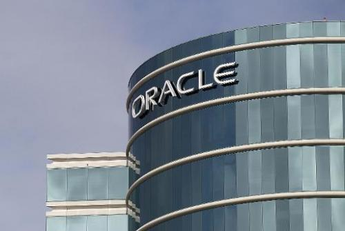 The Oracle logo is displayed at company headquarters on March 20, 2012 in Redwood Shores, California
