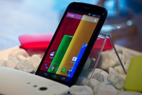 "The ""Motorola Moto G"" is displayed in Sao Paulo, Brazil on November 13, 2013"