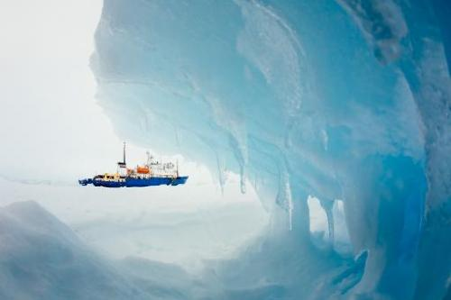 The Russian research ship MV Akademik Shokalskiy is shown still stuck in the ice off East Antarctica as it waits to be rescued,