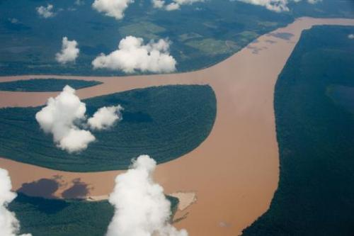 The World Cup also a test bed for climate change experts say, pictured is an aerial view of the Amazon river, Brazil on December
