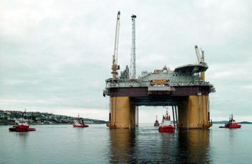 The world's largest natural gas platform Aasgard-B being towed on April 17, 2000 from Kvaerner Rosenberg Shipyard near Stavanger