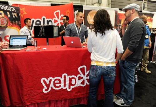 The Yelp booth at the Nightclub & Bar Convention and Trade Show at the Las Vegas Convention Center on March 20, 2013 in Las