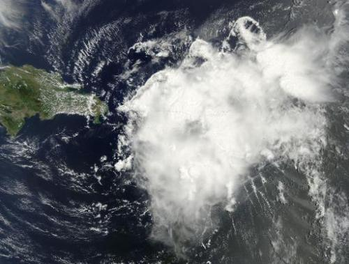 This August 2, 2014 NASA satellite photo shows Tropical Storm Bertha over Jamaica