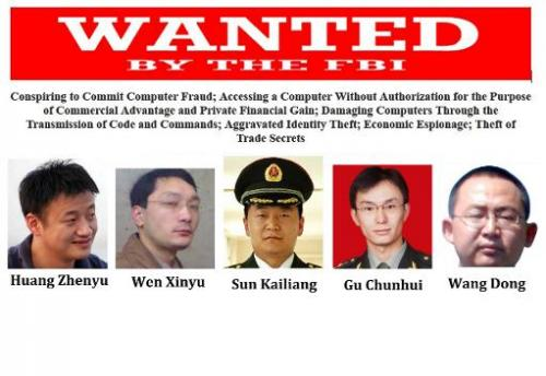 This combination of images released by the FBI on May 19, 2014 shows five Chinese hacking suspects