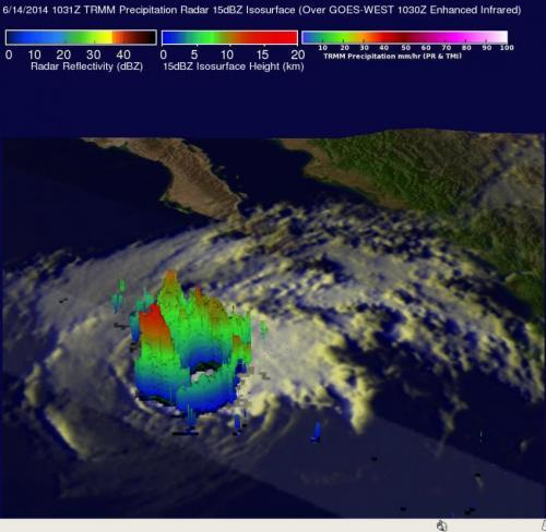TRMM eyes rainfall in dissipating former Hurricane Cristina