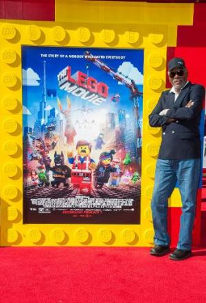 """US actor Morgan Freeman at the premiere of """"The Lego Movie"""" at the Westwood Village Theatre in Los Angeles on February"""