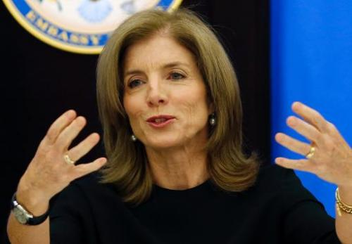 "US Ambassador to Japan Caroline Kennedy, shown in Tokyo on November 27, 2013, has tweeted her concern at the ""inhumaneness&"