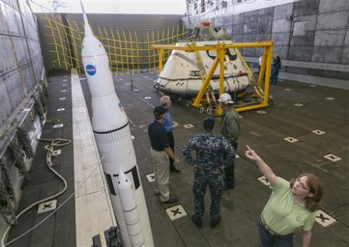 US Navy practices retrieving Orion spacecraft