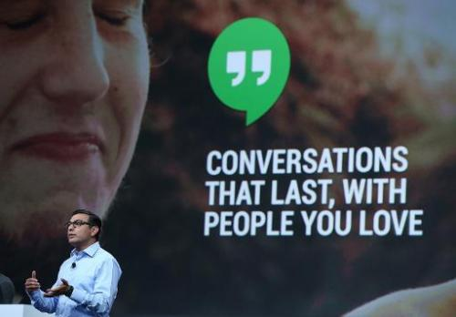 """Vic Gundotra announces """"hangouts"""" for Google+ as he speaks during the opening keynote at the Google I/O developers con"""