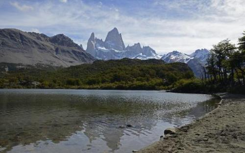 View of the Capri Lagoon, with the Mount Fitz Roy in the background, in Santa Cruz province, Argentina on March 18, 2014